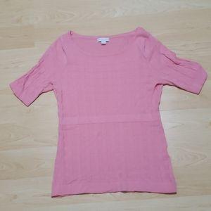 Pink Weave Pattern Knit Top